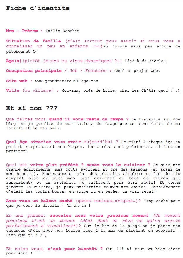 Questionnaire Rose Philange Grand Mère Feuillage